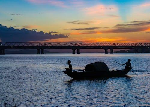 강, 구름, 다리의 무료 스톡 사진