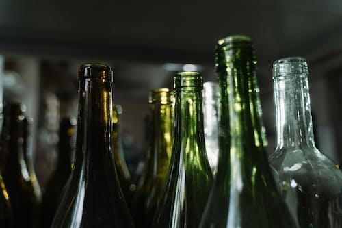 Close-Up Shot of Empty Glass Bottles