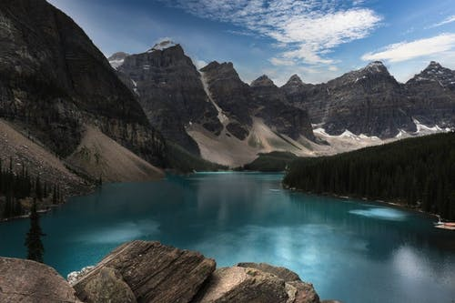 Turquoise Lake Water Surrounded by Mountains