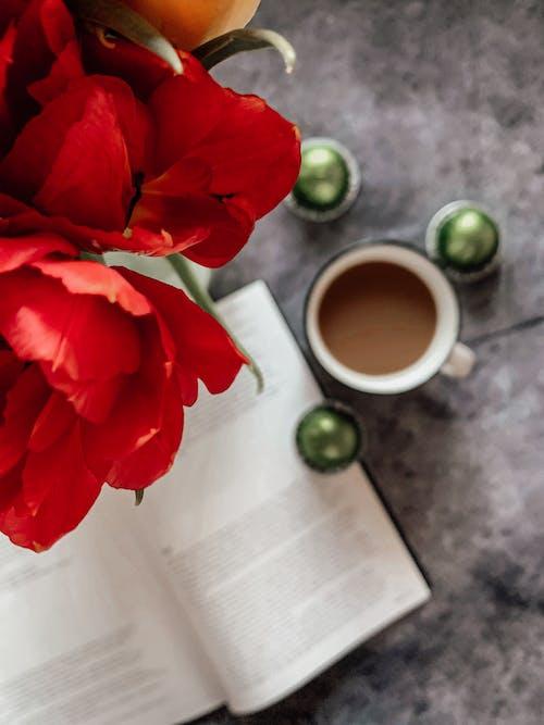 Red Flower Beside White Ceramic Mug