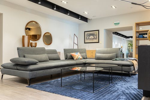Interior of modern living room with couch and table