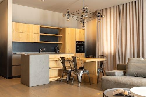 Modern apartment with wooden kitchen