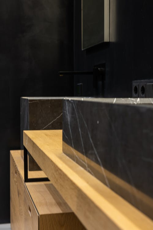 Detail of sink in modern bathroom