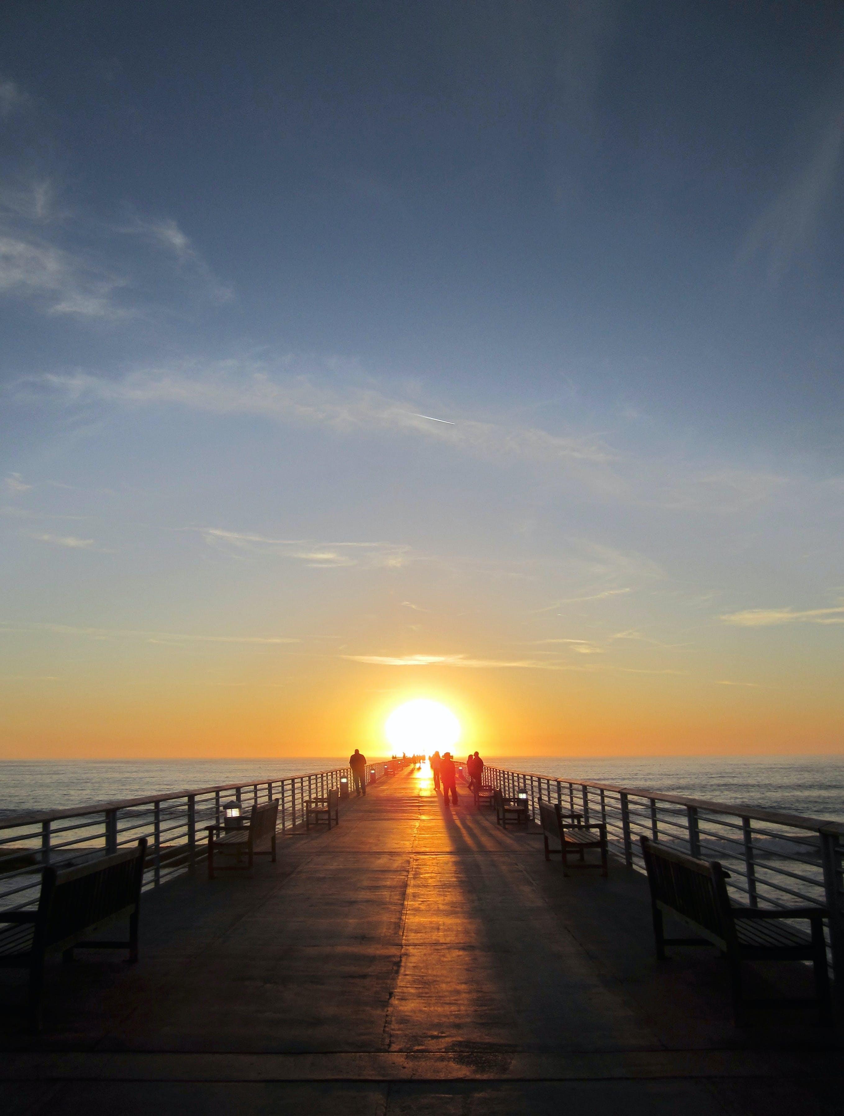 dawn, dusk, jetty