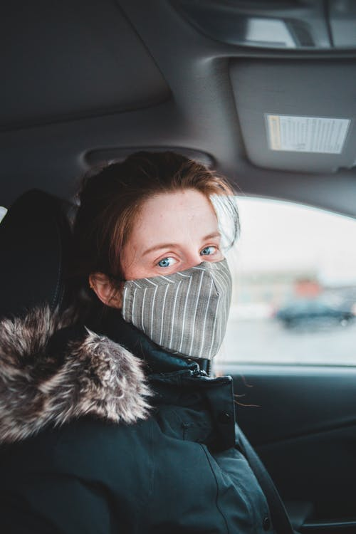 Woman in warm jacket and mask