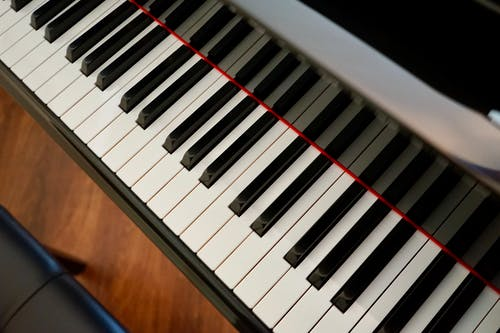 High-Angle Shot of a Piano's Keys