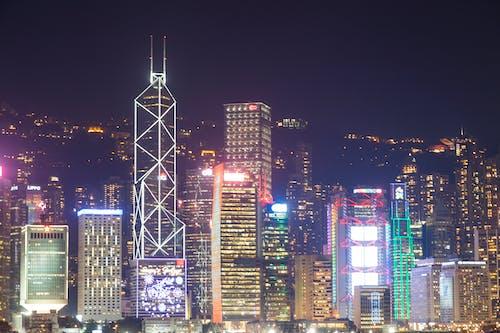 Foto stok gratis cityscape, dunia malam, Hongkong, kota