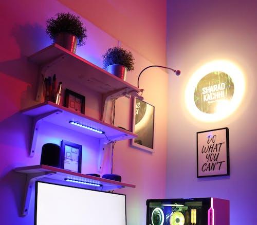 Free stock photo of gaming setup interior, ikea setups, neon