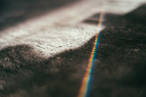 Rug with colorful spectrum lights
