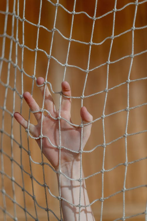 A Hand Clinging on a Net