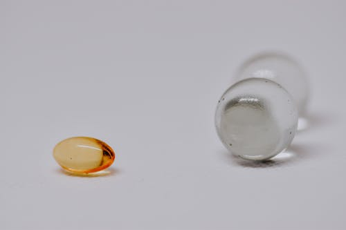 Small glass marbles on white surface