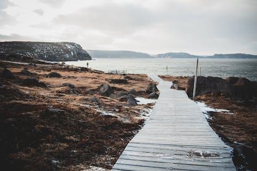 Empty wooden footpath on coast of sea