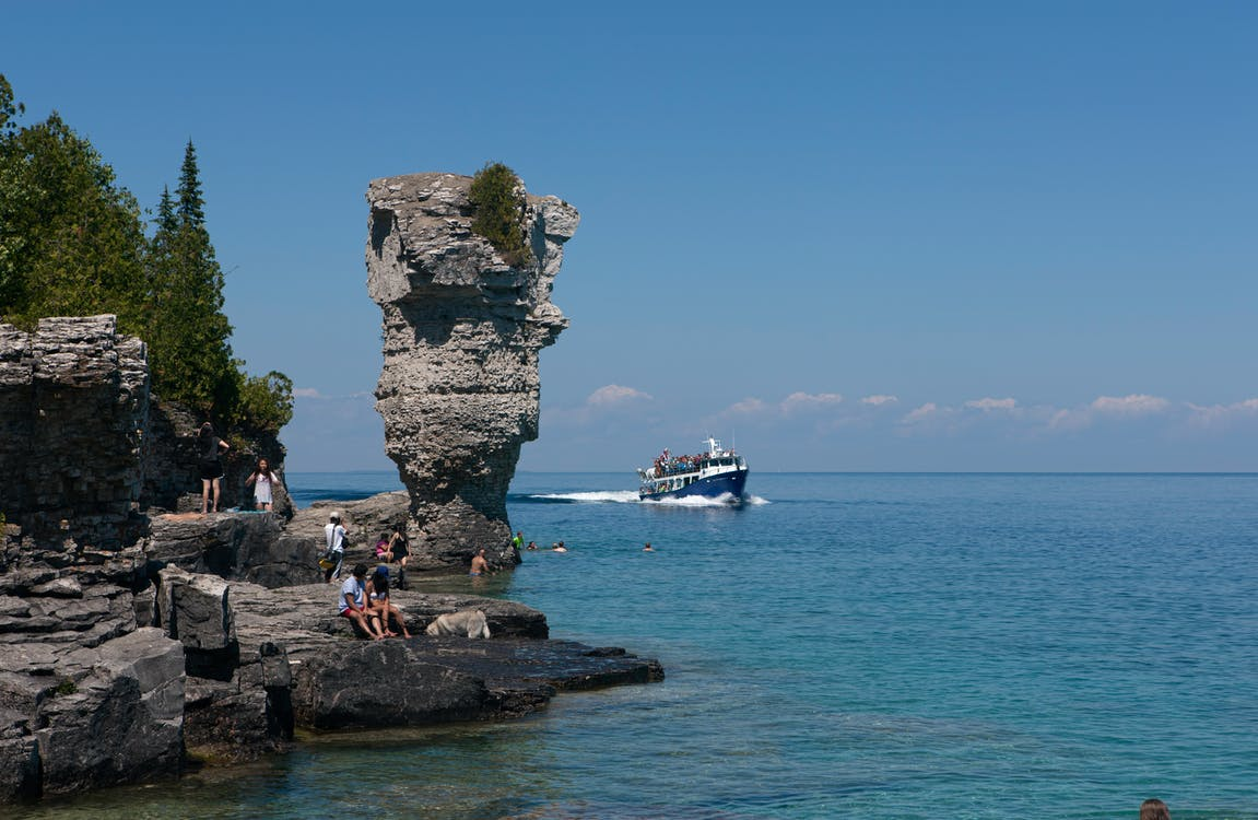 Free stock photo of blue heron v, flowerpot island, geological formation