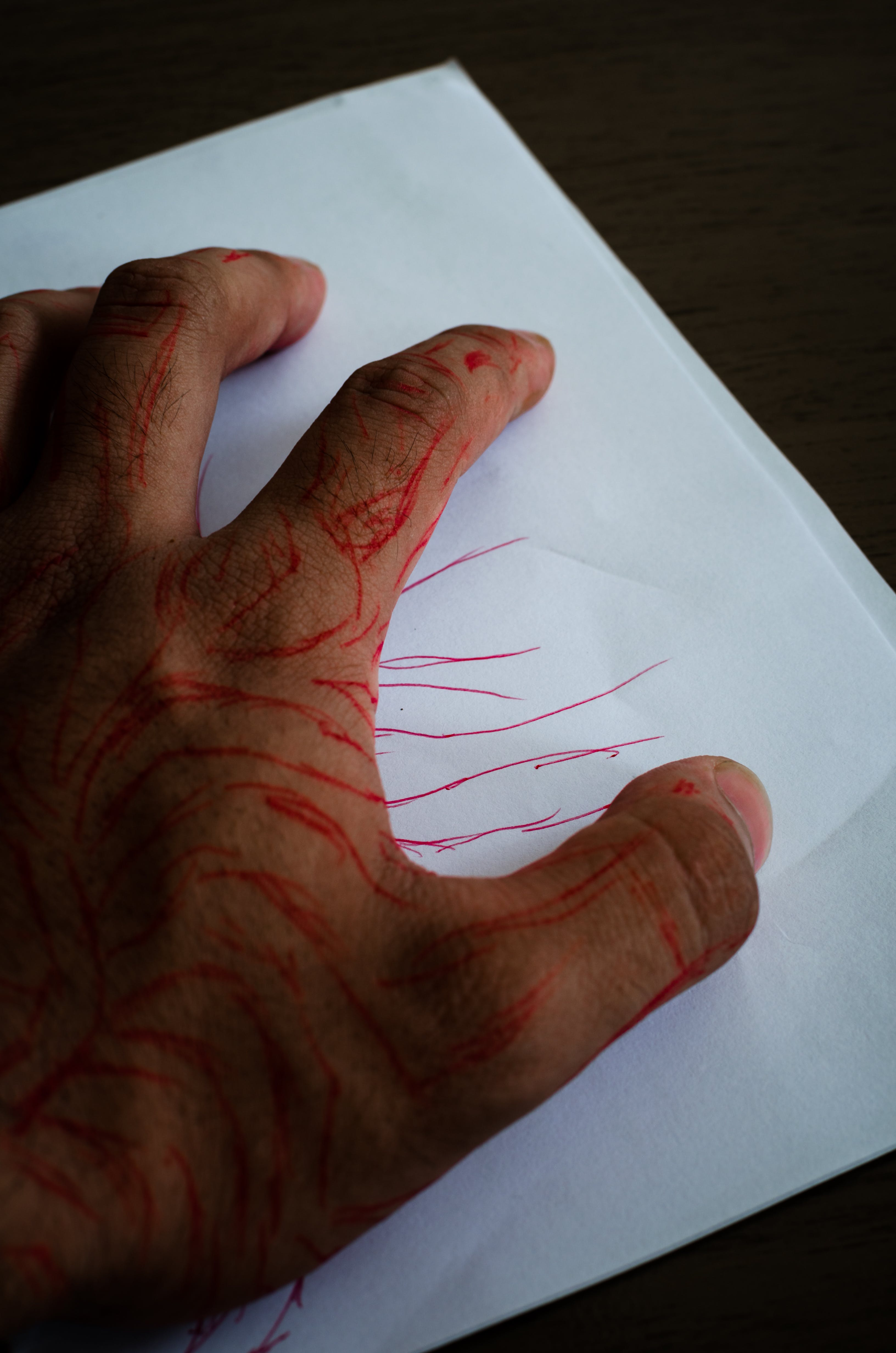 Free stock photo of red, hand, drawing, ink