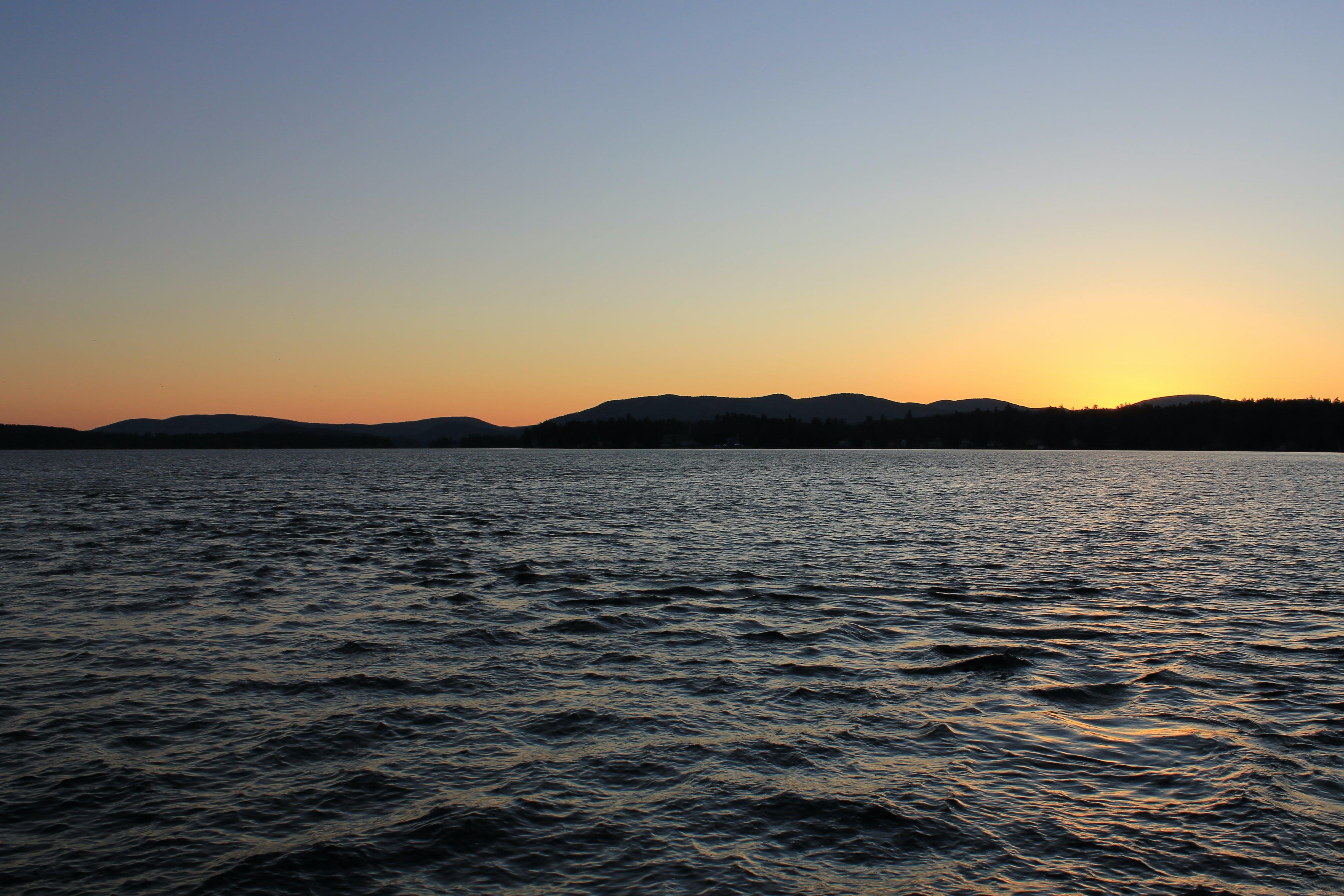 lake, sunrise, sunset