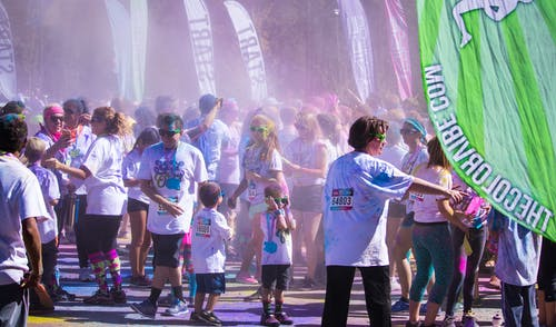 Free stock photo of 5k, colour run, fun