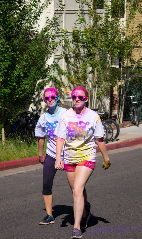 Free stock photo of 5k, colour run, friends