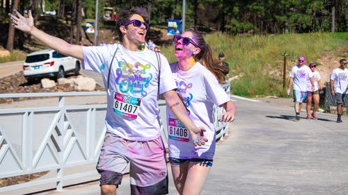 Free stock photo of 5k, colour, colour run, couple