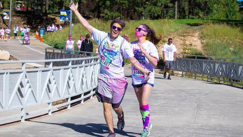 Free stock photo of 5k, colour run, couple