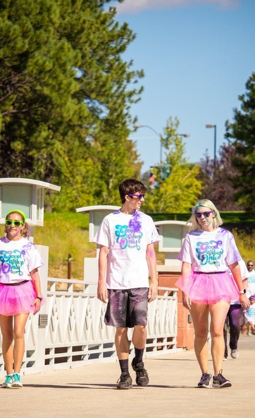 Free stock photo of 5k, colour, colour run, friends
