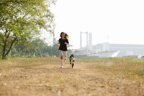 Cheerful woman and Border Collie running together in countryside