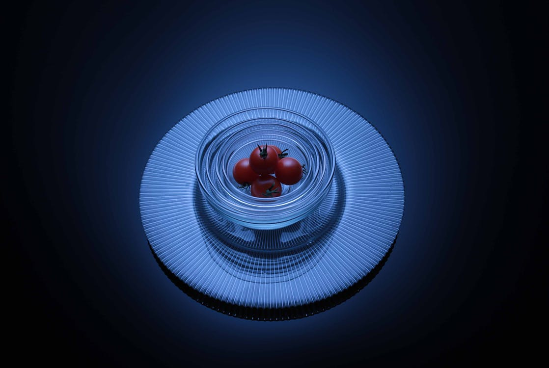 Cherry Tomatoes on Clear Glass Bowl