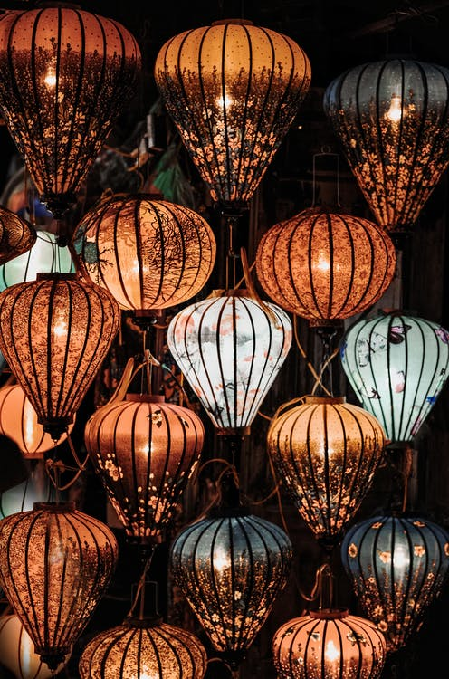 Brown and White Floral Print Lanterns