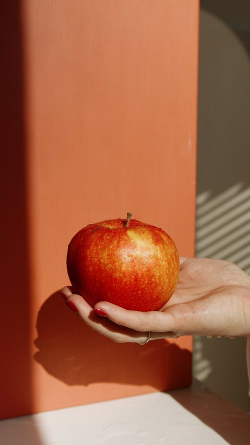 Person Holding Red Apple