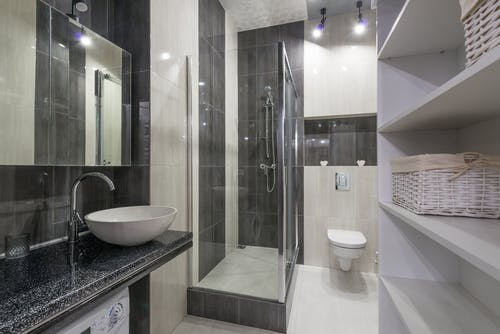 Shower with Clear Glass Walls