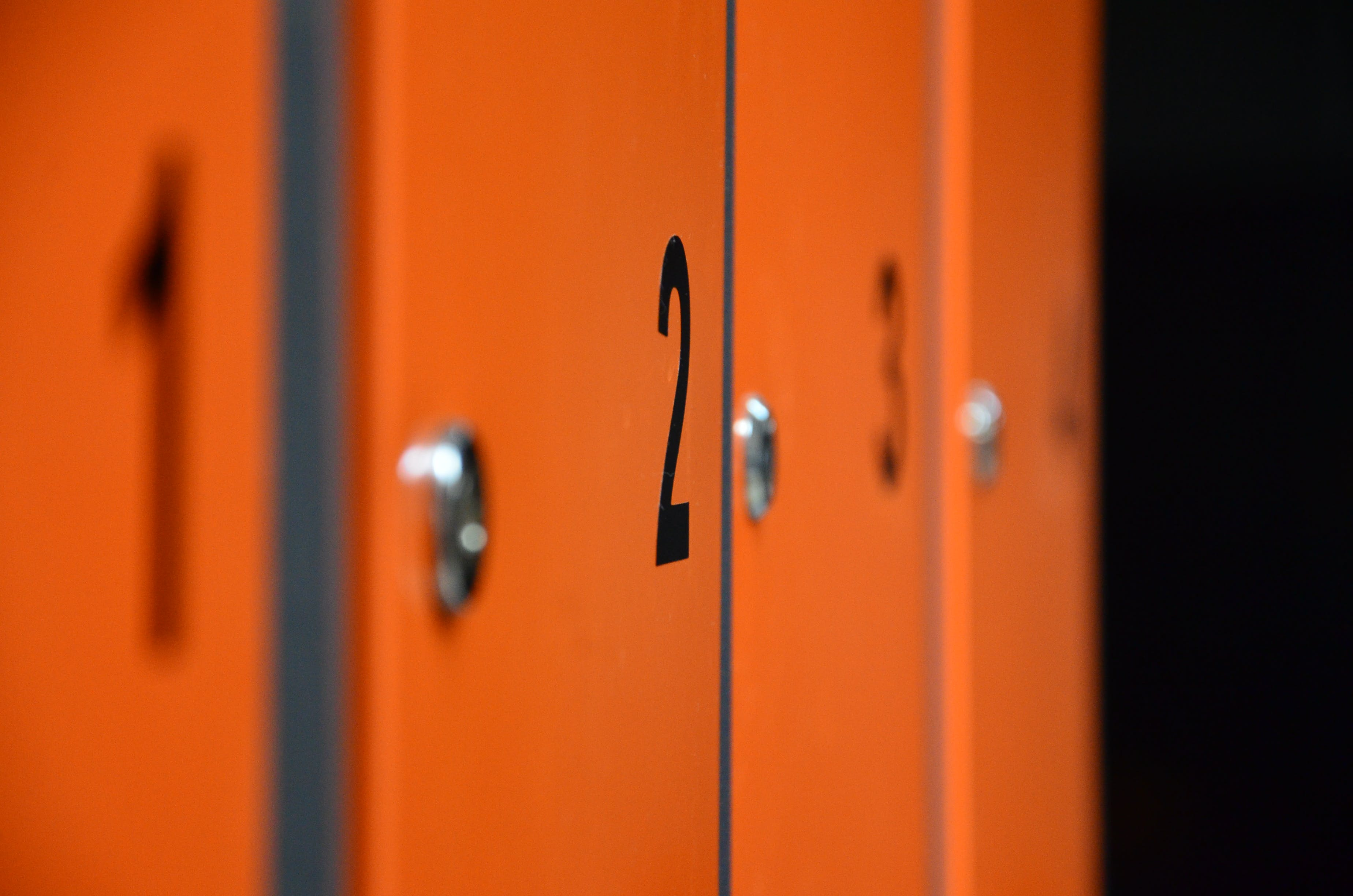 Closeup Photo of 1, 2, 3, and 4 Locker