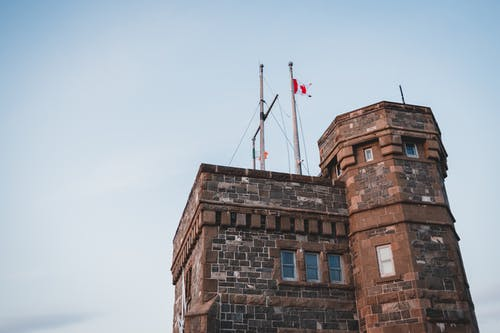 Facade of Gothic styled tower with flag on roof