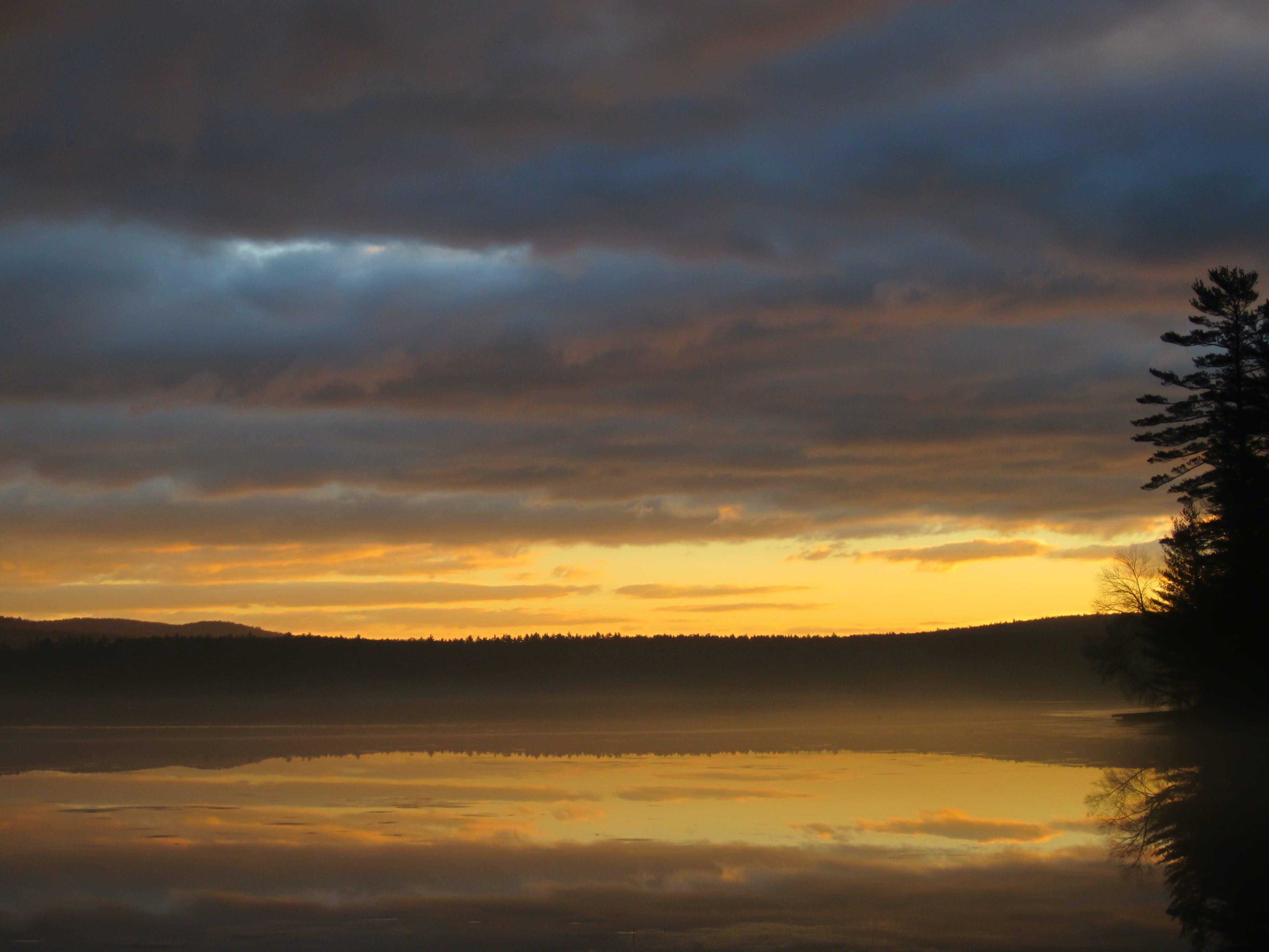 clouds, lake, reflections