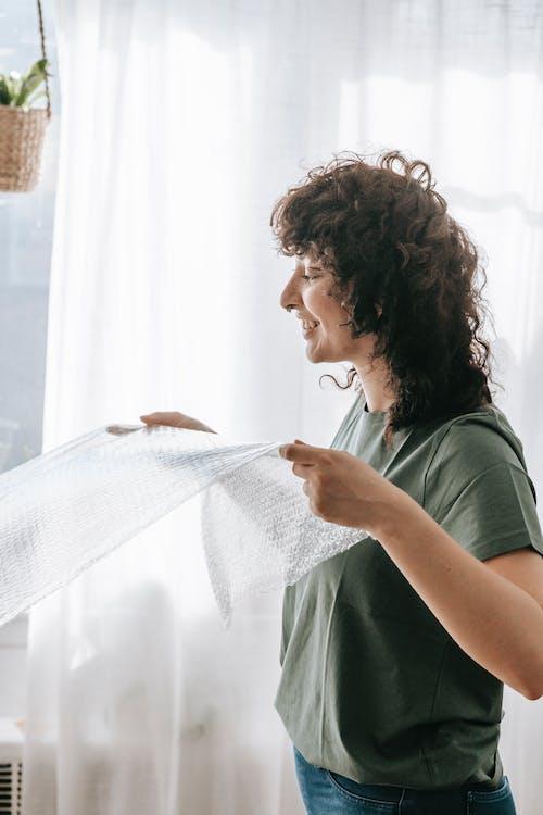 Woman Holding A Bubble Wrap