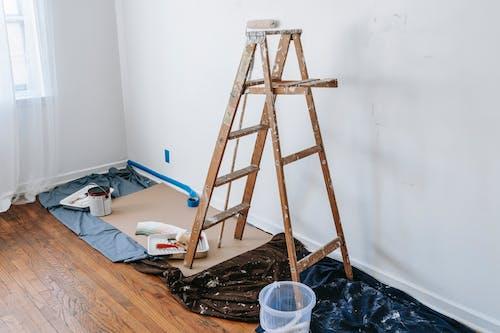 A Wooden Stepladder Inside A Room