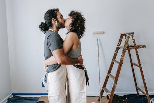 A Loving Couple Doing A Kiss