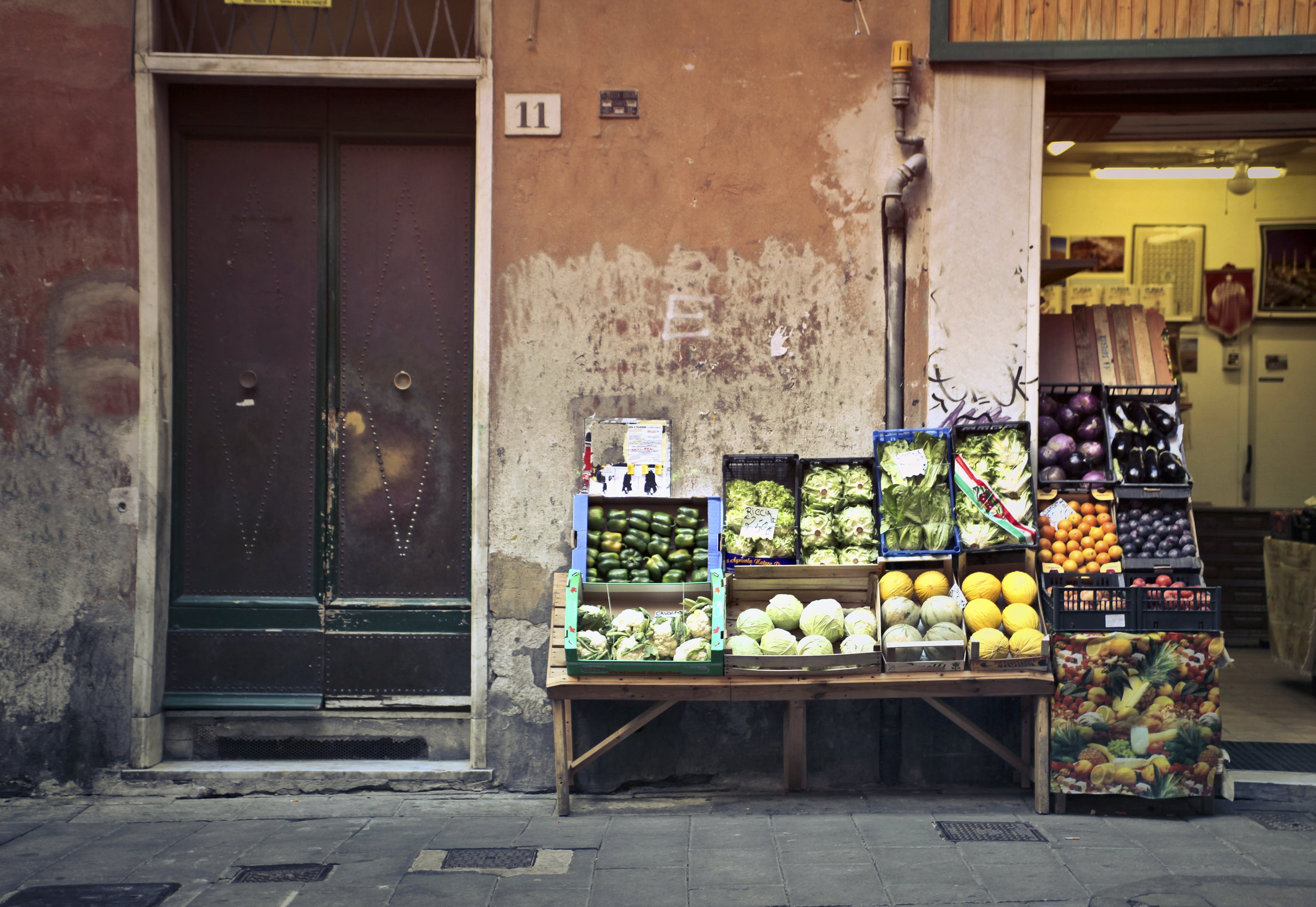 Free stock photo of vegetables, city, street, village
