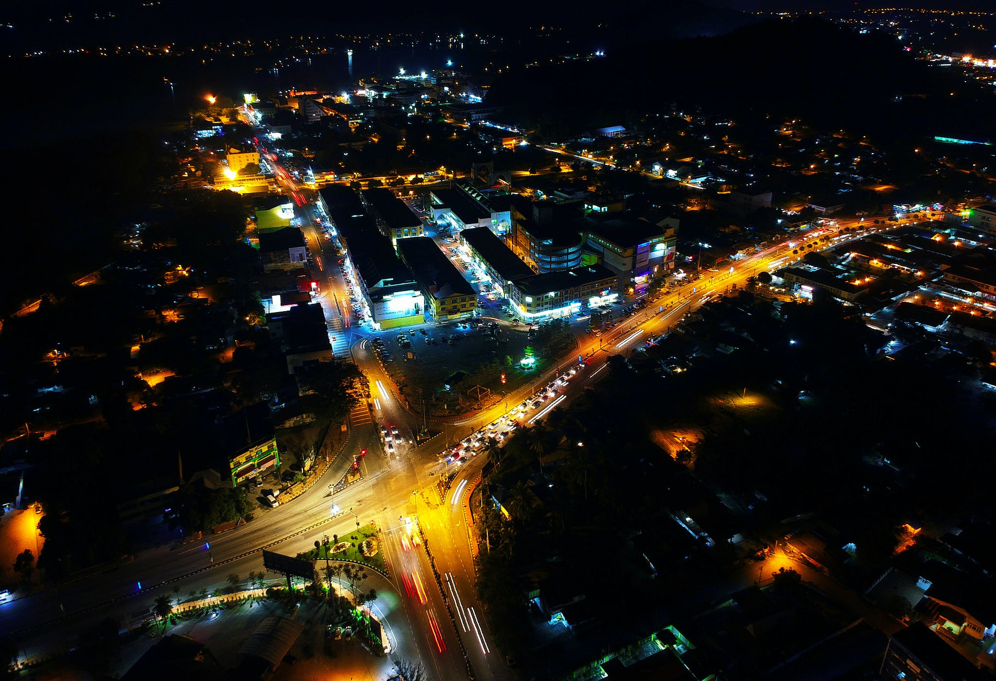 Aerial View of City during Nighttime