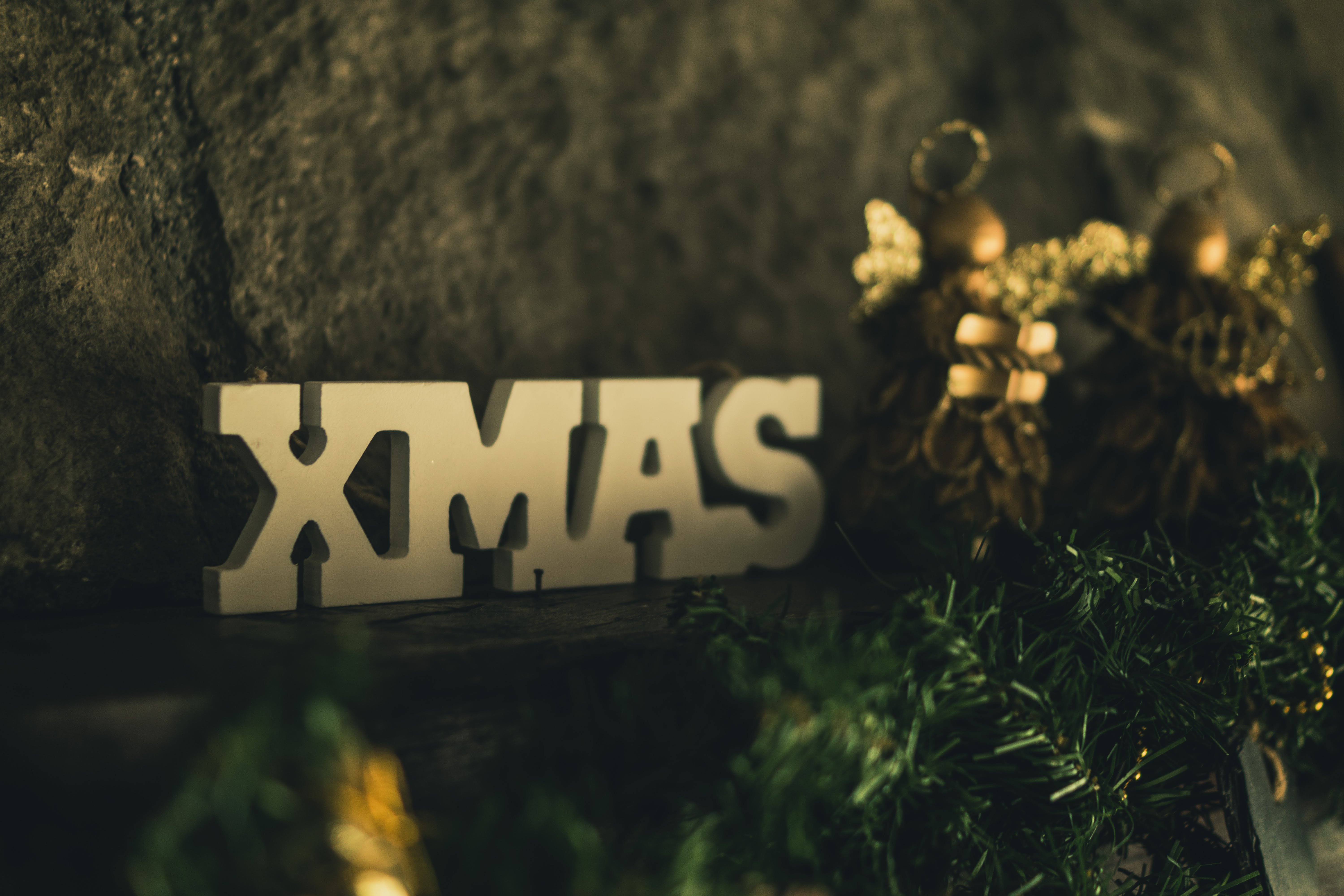Beige Wooden Xmas Cutout Sign