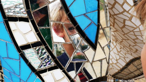 Free stock photo of broken glass, reflection in sculpture, san diego