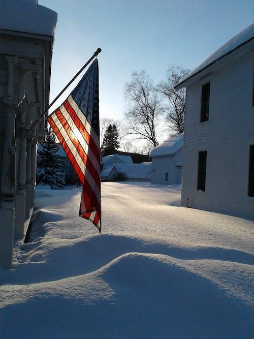 Free stock photo of american flag, snow