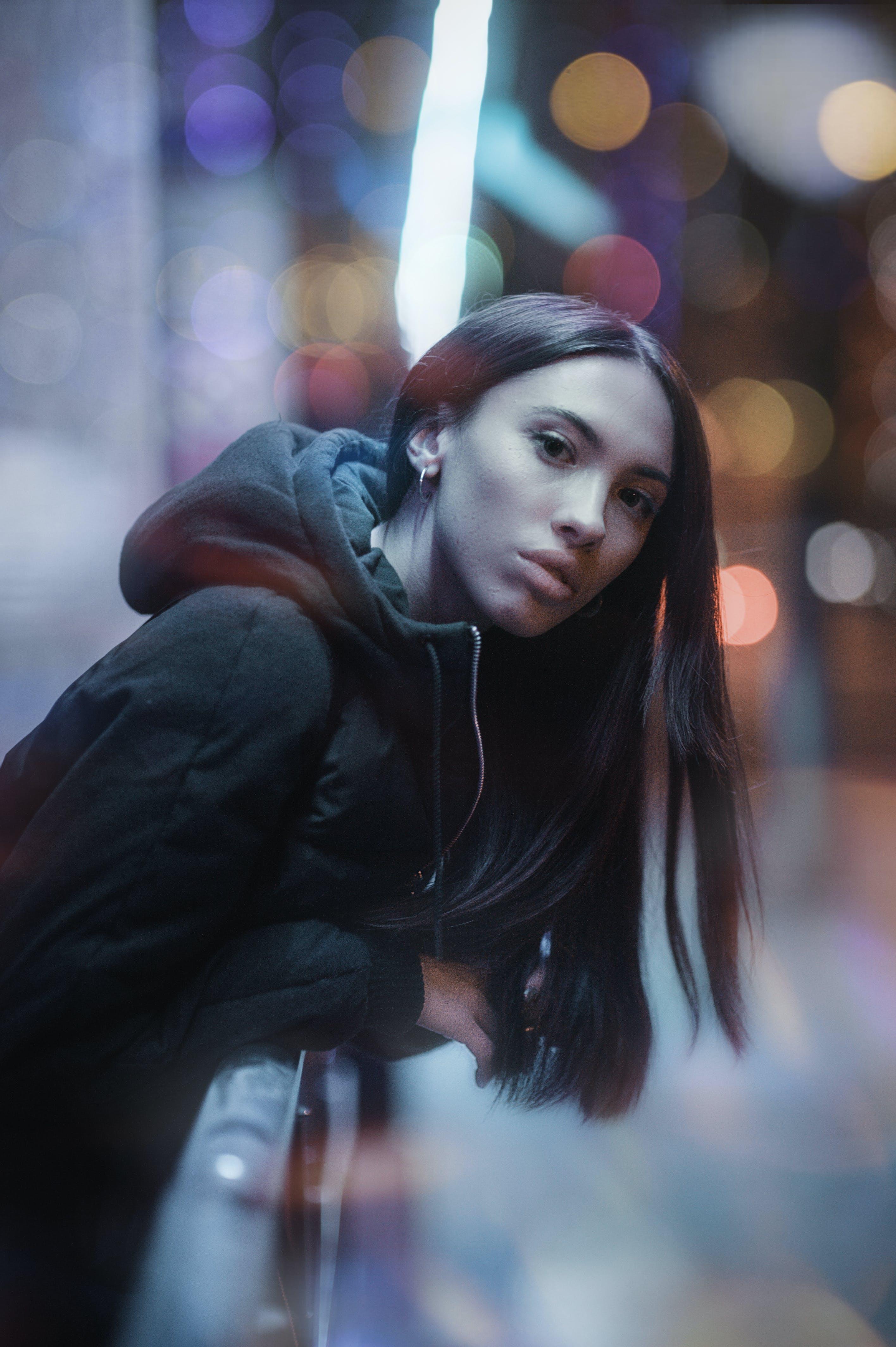 Woman Wearing Black Parka Hoodie