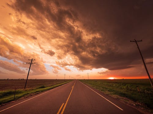 Free stock photo of clouds, oklahoma, open road