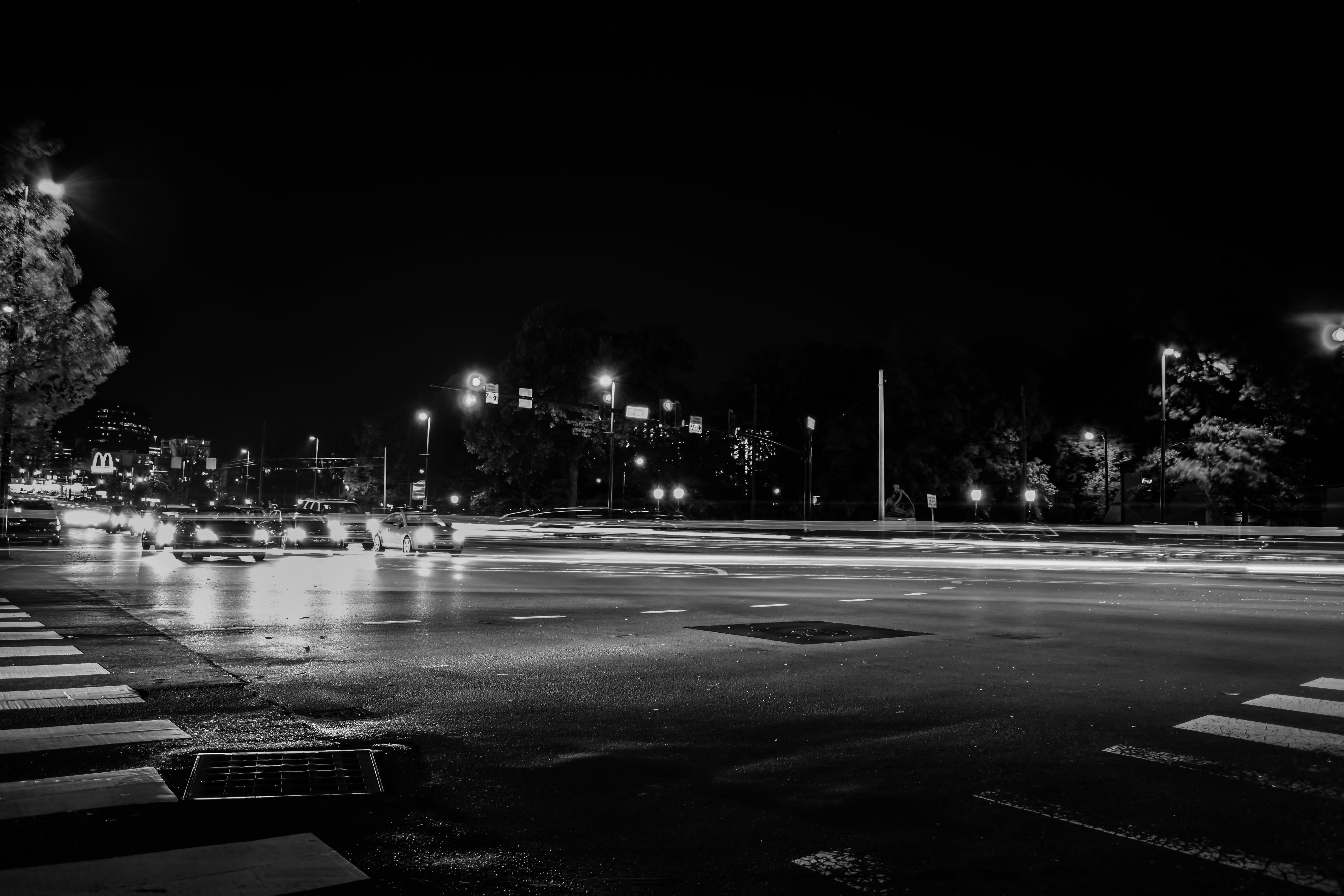 Free stock photo of black and white, busy, car lights, cars