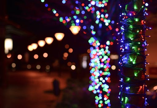 illuminated christmas lights at night - Christmas Light Pictures