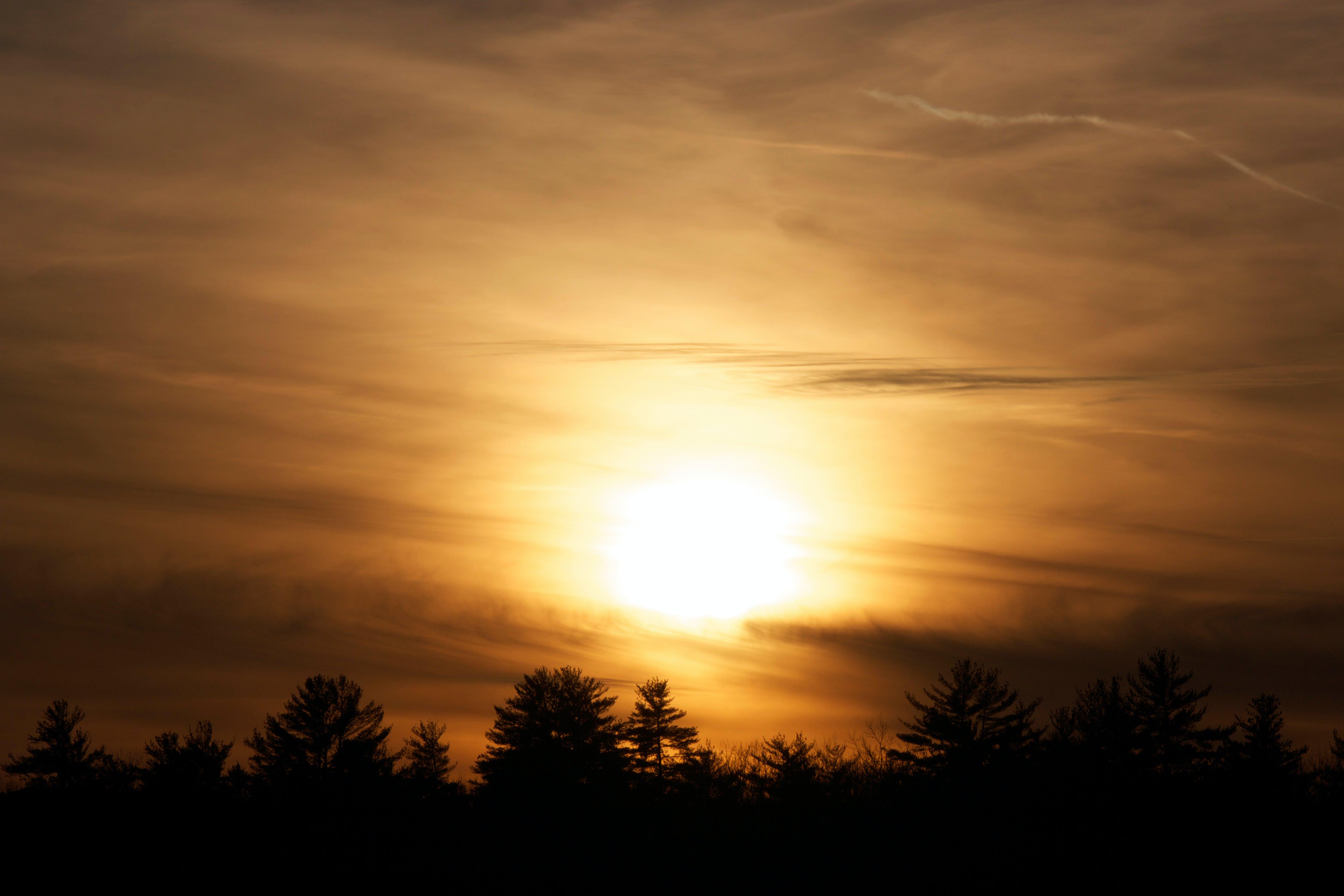 clouds, dusk, sun