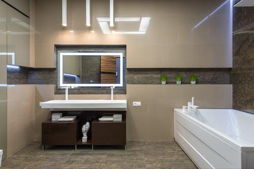 Modern bathroom with bath and sink