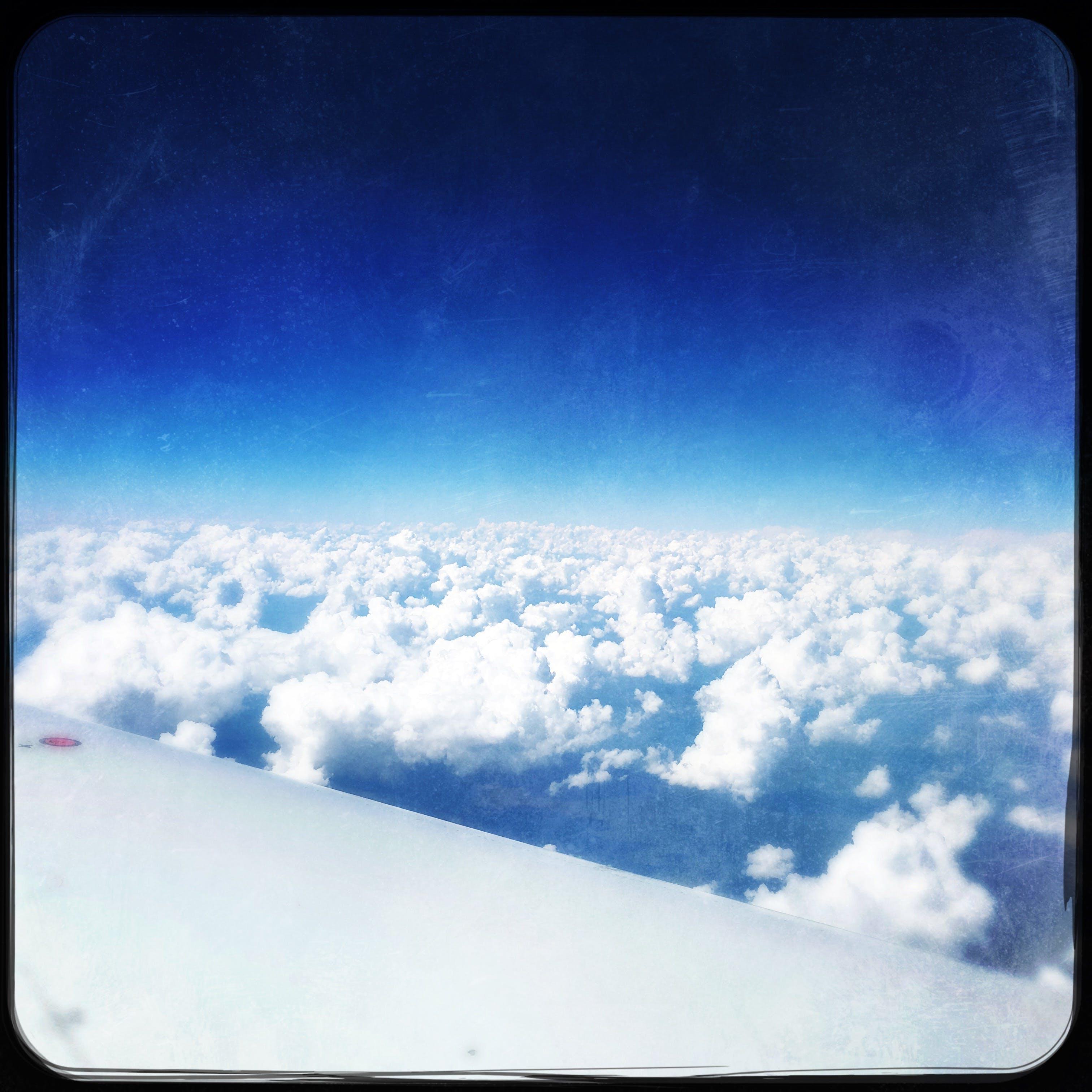 blue, clouds, flight