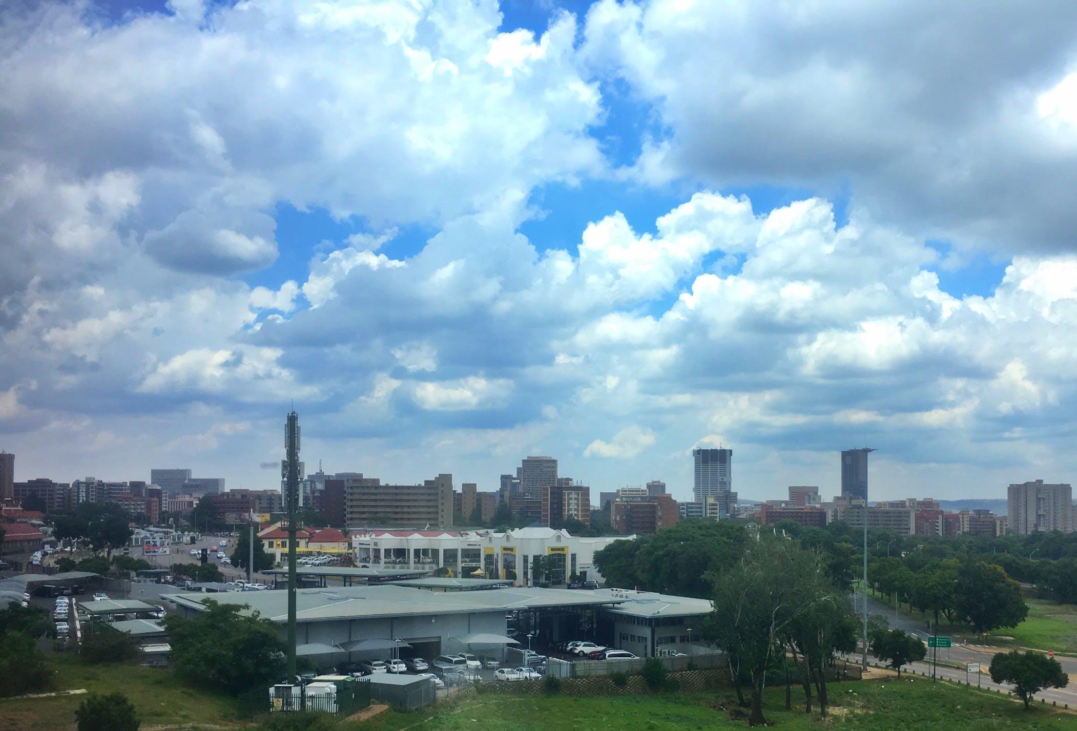 africa, city, clouds