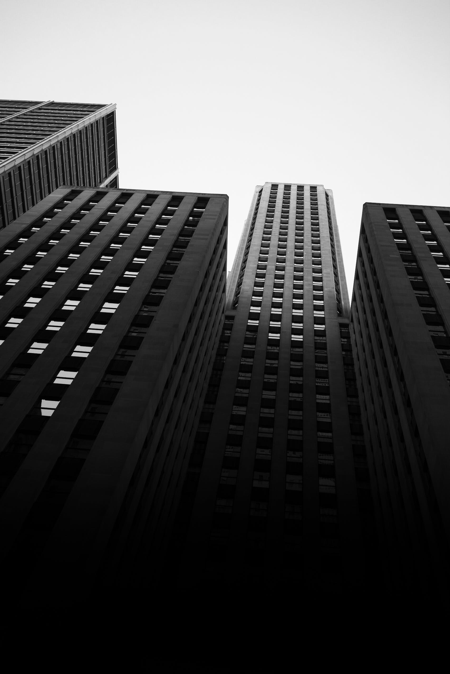 Monochrome Photo of High-rise Buildings