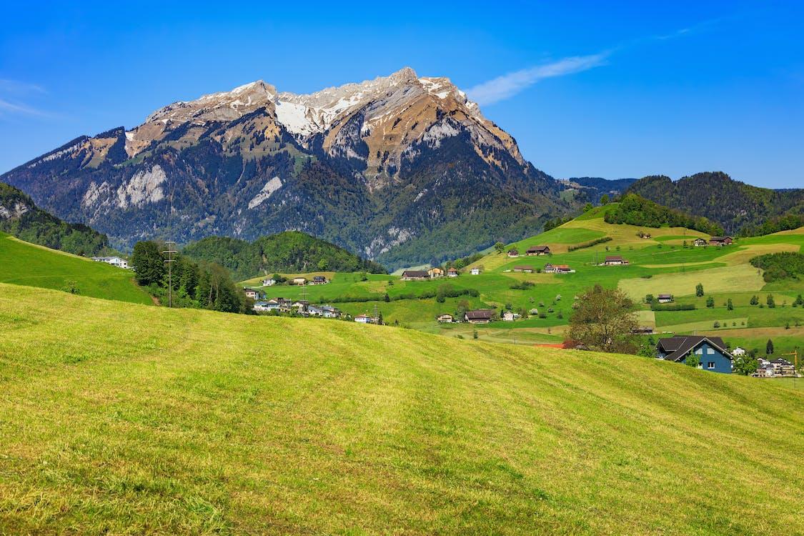 Alpen, berg, blauw